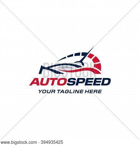 Auto Speed Logo. Fast Car Speedometer. Simple Modern Minimalist. Branding For Automotive, Auto Sales