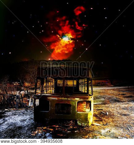 Front On Old Rusted Junk Bus. Popular Abandoned Rare Transport Under The Cosmic Sky. Elements Of Thi