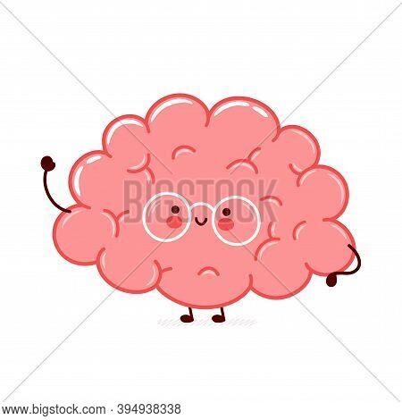 Cute Funny Human Brain Organ Character. Vector Flat Line Cartoon Kawaii Character Illustration Icon.