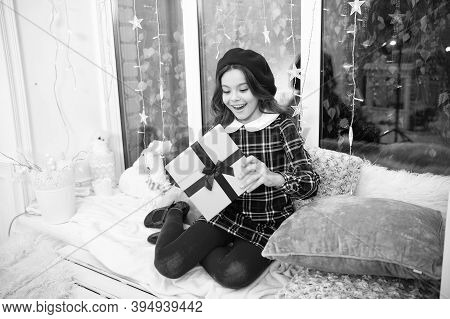 Surprise Inside The Box. Surprised Child Open Gift Box. Christmas Surprise. Little Girl Keep Mouth O