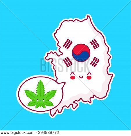 Cute Happy Funny South Korea Map And Flag Character With Weed Marijuana In Speech Bubble. Vector Fla