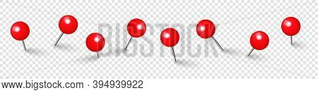 Realistic Red Push Pins. Board Tacks Isolated On Transparent Background. Plastic Pushpin With Needle