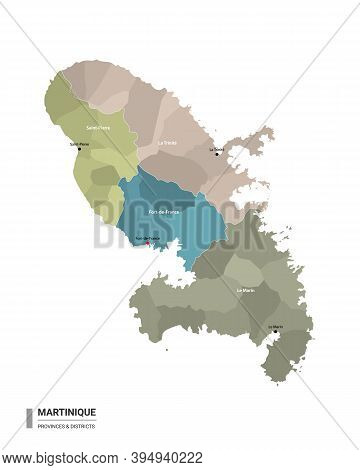 Martinique Higt Detailed Map With Subdivisions. Administrative Map Of Martinique With Districts And
