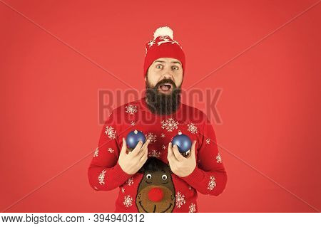 Winter Decorations. How To Handle Top Holiday Stress Triggers. New Year Concept. Hipster Smiling Che