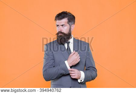 Because You Worth It. Handsome Guy Concept. Confident Businessman Handsome Bearded Man In Formal Sui