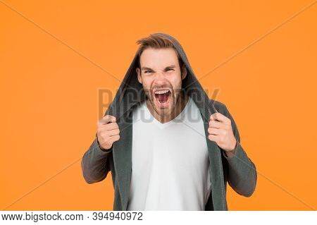 You Make Me Angry. Angry Man Yellow Background. Handsome Guy In Angry Mood. Unshaven Model Scream Wi