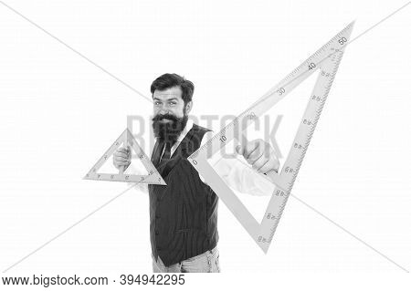 What Is Triangle. Bearded Man Hold Triangles Isolated On White. School Teacher Smile With Geometric