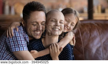 Husband Dad And Daughter Cuddling Wife Mom Fighting Against Cancer