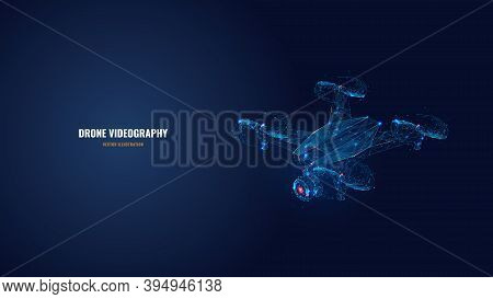 Digital Vector 3d Illustration Of Drone With Camera In Dark Blue. Drone Videography, Aerial Photogra