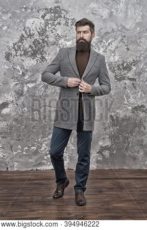 Male Fashion Model. Mature Businessman. Modern Life. Casual Style. Brutal Bearded Hipster In Casual