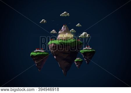 The Land Of Creativity. Low Poly 3d Render Islands With Small Village And Shining Text Creativity In