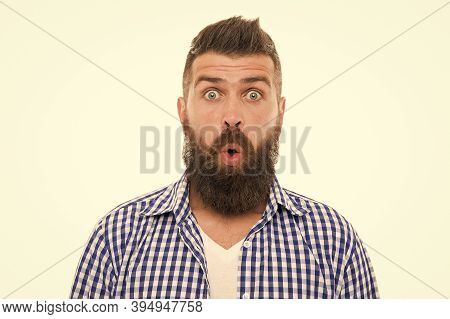 Astonished Face. No Way. Wondering Concept. Handsome Surprised Man Wonder. Surprised Guy With Bristl