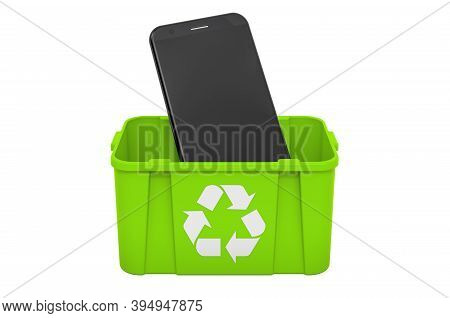 Recycling Trashcan With Smartphone Phone, 3d Rendering Isolated On White Background