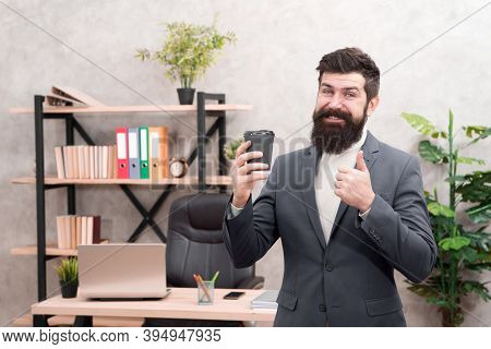Must Have Stimulant For Him. Man Bearded Manager Businessman Entrepreneur Hold Cup Of Coffee. Relaxe