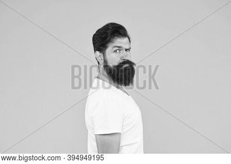 Handsome Male. Mature Hipster Has Perfect Moustache. Serious Looking Guy. Male Barber Care. Get Styl