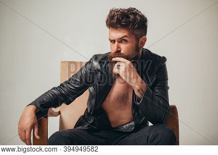 Sexy Man. Dandy Fashionista In Night Club. Serious Confident Ambition Concentrated Focused Handsome
