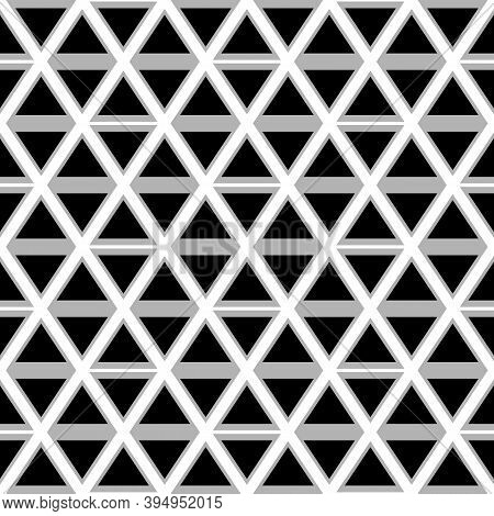 Seamless Mosaic Pattern. Rhombuses, Triangles, Lozenges Ornament. Grid Background. Ancient Ethnic Mo