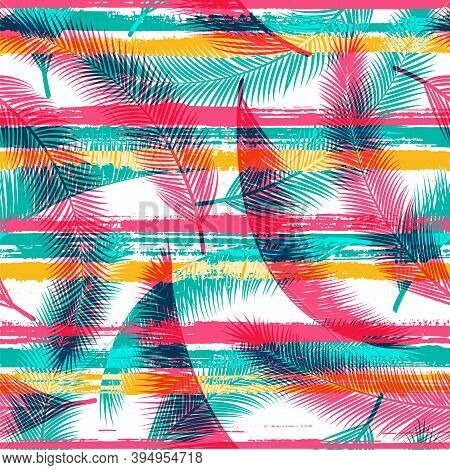 Elegant Coconut Palm Leaves Tree Branches Overlaying Stripes Vector Seamless Pattern. Brazilian Exot