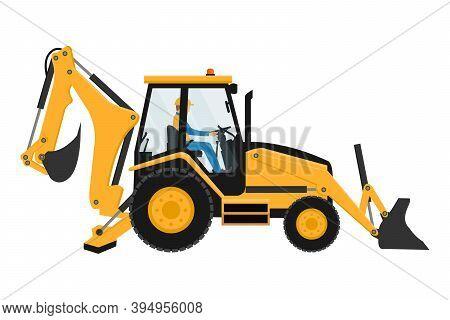 Heavy Machinery Driver Backhoe Design Vector Illustration