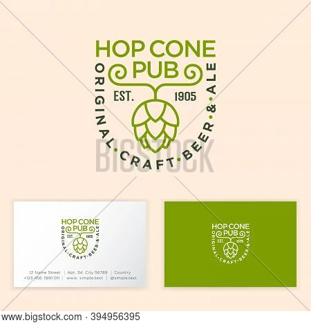 Hop Cone Pub Logotype. Green Hop Cone Emblem. Composition From Beautiful Letters, Green Hop Cone On