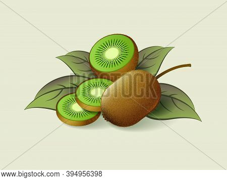 Ripe Kiwi, Whole And Sliced Fruit On A Light Background. Ripe Fruits With Leaves. Organic Exotic Pro