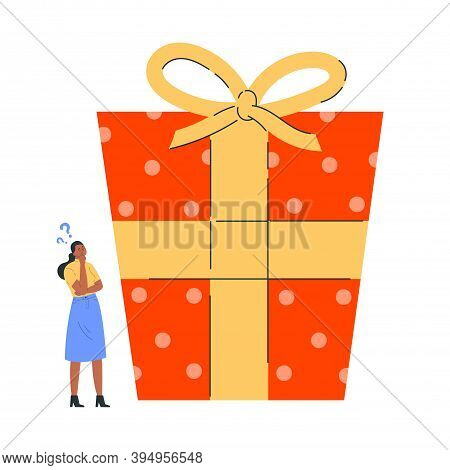 Young Woman In Doubt Thinks About Present. Girl Is Thinking About Gift For The New Year. Confused Yo