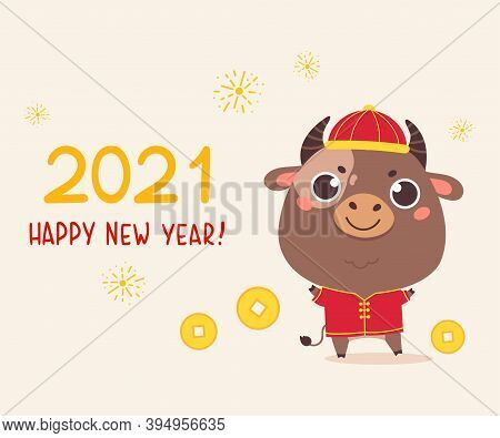 Happy Chinese New Year Greeting Card 2021.funny Animal In The Chinese Zodiac.bull Zodiac Symbol Of T