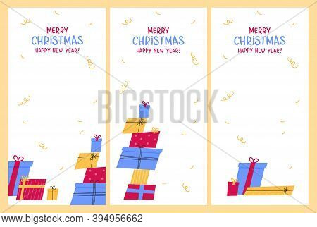 Template Design For Christmas Sale With Cute Gifts.christmas Advertising.xmas Presents And Lettering