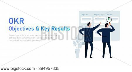 Okr Objectives And Key Results Illustration Of Management Implementing Strategy Task Management