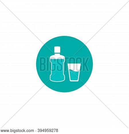 Mouthwash Icon. Mint Liquid For Rinsing The Mouth. Dental And Oral Care. Vector Illustration In Flat