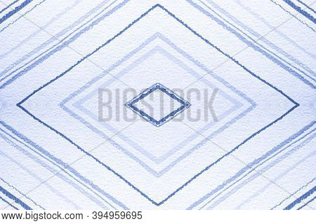 Seamless Geometric Zig Zags Pattern. Painted Color Stripes Background. Indigo Grunge Rhombuses. Geom