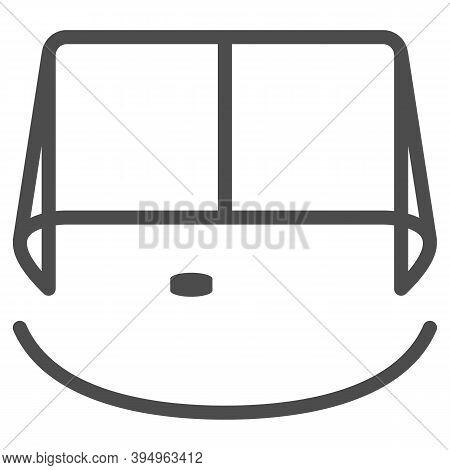 Hockey Goal Line Icon, Winter Sport Concept, Gates Goalie For The Game Of Hockey Sign On White Backg