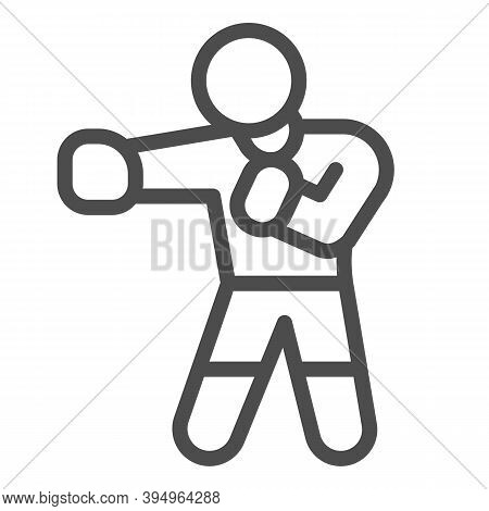 Boxer In Boxing Gloves Line Icon, Self Defense Concept, Sportsman Sign On White Background, Man Is T