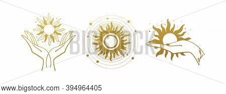 Set Of Mystical Logos With The Sun. The Hand Holds The Sun. Set Of Vector Drawings For Boho Dihain,