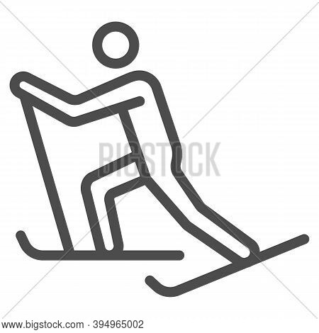Cross-country Skiing Line Icon, Winter Sport Concept, Skier Sign On White Background, Cross Country