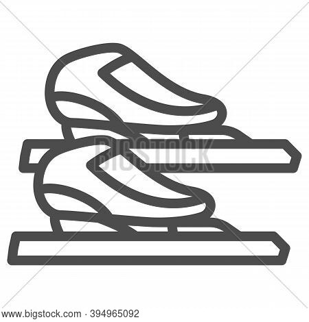 Skater Skates Line Icon, Winter Sport Concept, Skating Sign On White Background, Figure Skates Symbo
