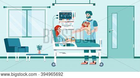 Man Visits A Convalescent Patient In A Hospital Room, Cartoon Flat Vector Illustration. Healthcare C