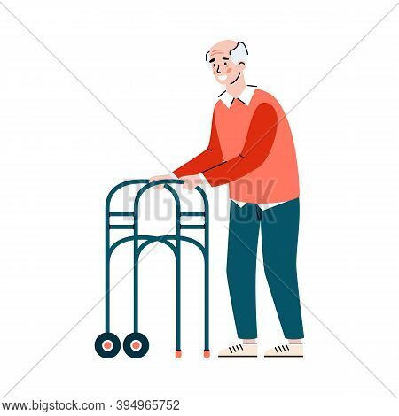 Old Man Using Wheeled Walker - Happy Cartoon Senior Person Making A Step With Metal Walking Support