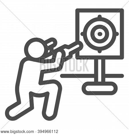 Shooter And Target Line Icon, Self Defense Concept, Shooting Range Sign On White Background, Trainin