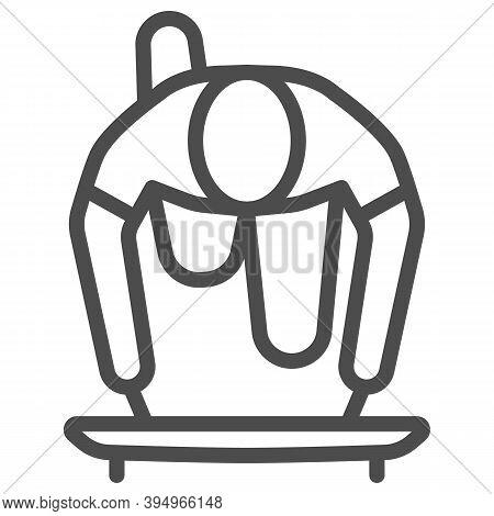 Skeleton Athlete Line Icon, Winter Sport Concept, Skeleton Sportsman Sign On White Background, Skele