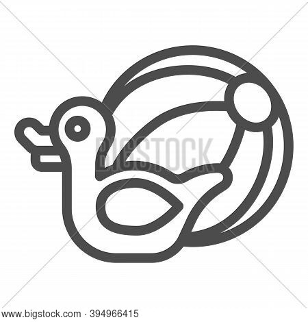 Rubber Duck And Beach Ball Line Icon, Aquapark Concept, Beach Toys Sign On White Background, Pool To