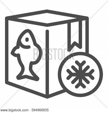 Frozen Fish In Box Line Icon, Fishing Concept, Refrigerator Container For Seafood Sign On White Back