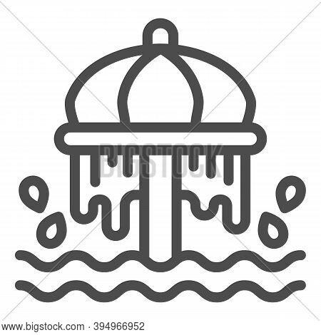 Aquapark Pool Umbrella Line Icon, Aquapark Concept, Waterpark Umbrella Sign On White Background, Umb