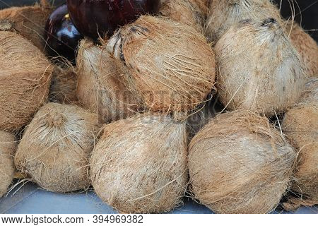 Close Up On The Coconut In Pile