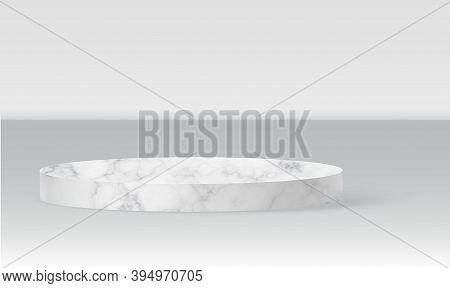 Marble Cylinder Podium Scene, Winner Pedestal. White Marble Cylinder Template For Showroom Podium Sc