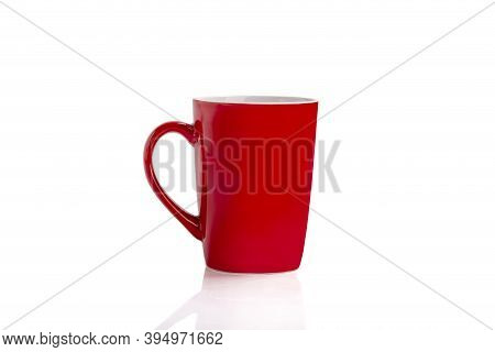 Red Mug Isolated With Copy Space On White Background