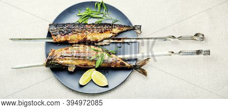 Fish Kebab From Mackerel.mackerel On Skewers.fish Barbecue Skewer.grilled Fish Kebab