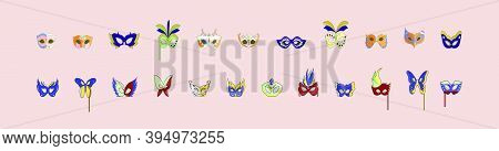 Set Of Happy Carnival Festive Concept With Musical Trumpet Mask. Carnival Mask. Modern Vector Illust