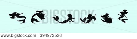 Set Of Mermaid Cartoon Icon Design Template With Various Models. Modern Vector Illustration Isolated