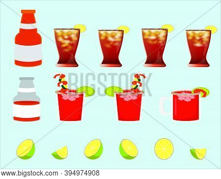 Set Of Alcohol Drinks And Cocktails Icon With Lime. Cartoon Design Template With Various Models Isol